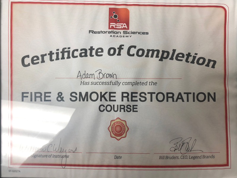 Homeworks Restoration Certificates